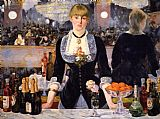 Wine paintings - A Bar at the Folies-Bergere by Edouard Manet
